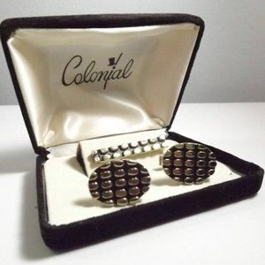 Colonial Cuff Links and Tie Bar Clip Set